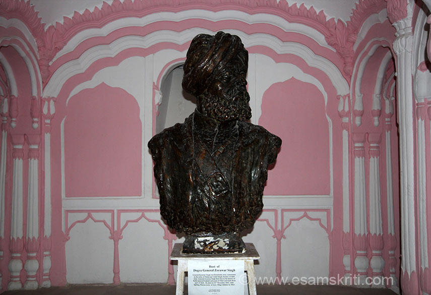 "Bust of Dogra General Zorawar Singh, general in army of Maharaja Gulab Singh of J&K, in Dogra Art Museum, Mubarak Mandi,Jammu. For the first time in the history of India he annexed parts of Tibet and made them as part of India. From Jammu region to reach Tibet, win a battle and return what a man. This is in the Jammu Dogra Gallery. To read about Zorawar Singh <a href=""http://en.wikipedia.org/wiki/Zorawar_Singh_Kahluria"" target=""_blank"">Click here</a>"