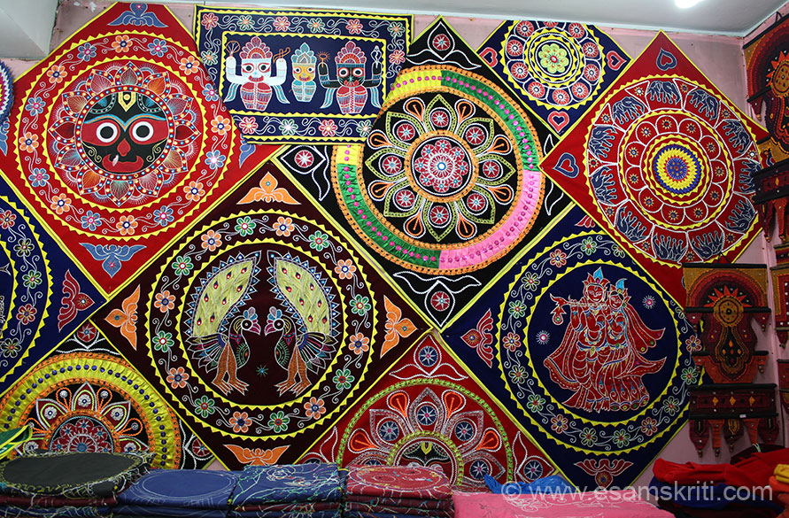 "Amazing work. U also get purses, mobile phone covers, bedsheets, umbrellas and hand bags. ""The roots of the applique art/craft form is intertwined with rituals n traditions of Lord Jagannath, the presiding deity of the Puri temple. The applique items are mainly used during processions of the deities in their various ritual outings. Items like Chhati, Tarasa and Chandua are used for the purpose."""