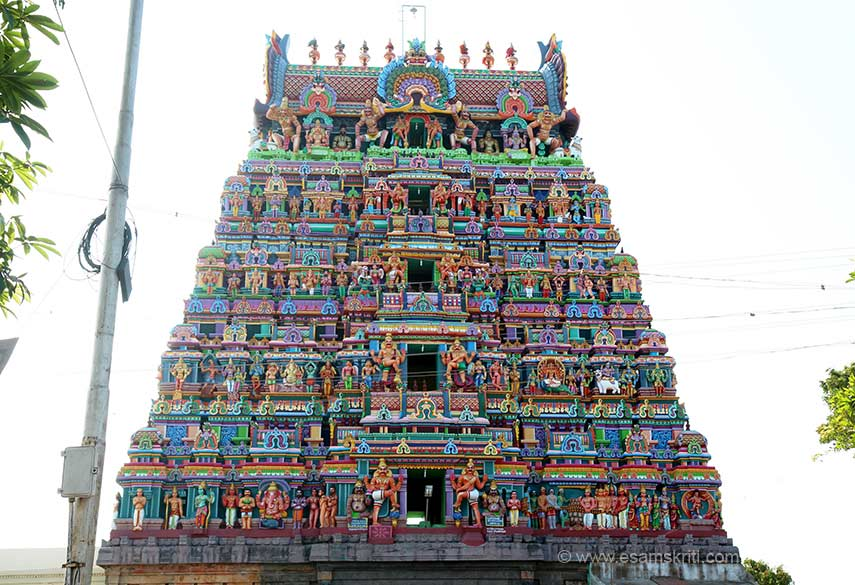 """5 tier Gopuram of Shiva temple at Vedaranyam (Tirumaraikkaadu). The Sivalingam of the presiding male deity Maraikattunathar is a Swayambu Lingam. The shrine of Thyagesar is also veryfamous here. The main shrine for Lord Vedaranyeswarar  and the presiding female deity are facing east."" Temple is 45 kms from Nagapattinam."