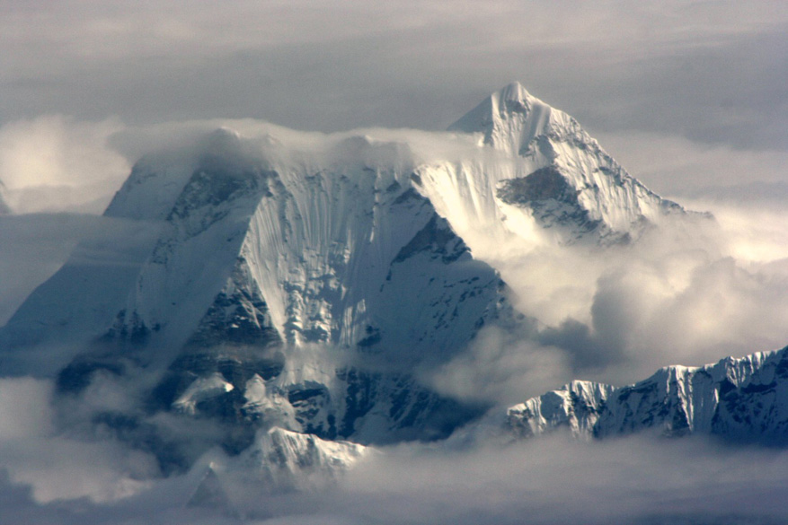 This is Everest, with Lhotse and Nuptse.  Pity that the clouds got