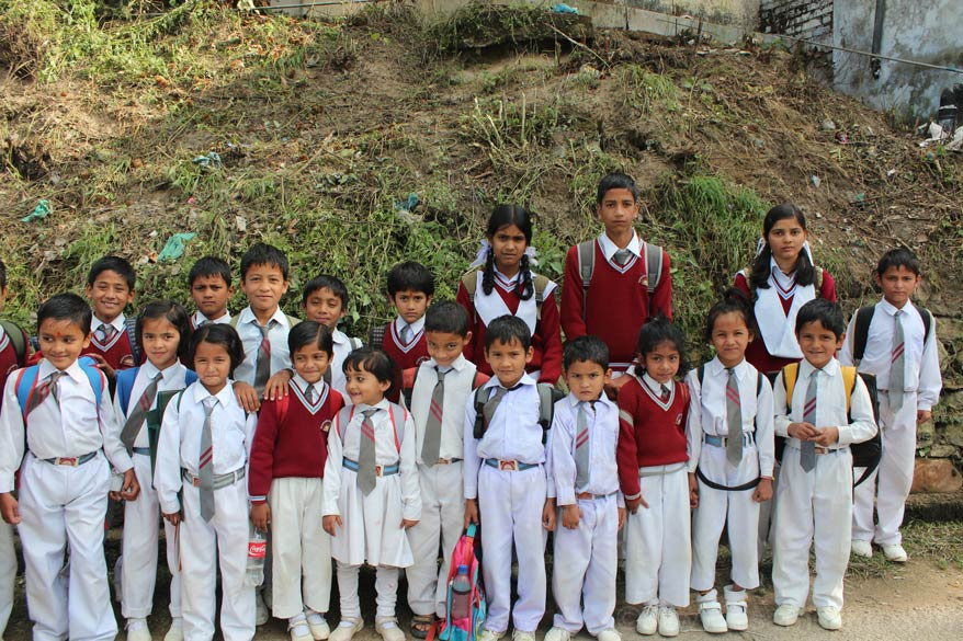Pic of school children at Champavat. We were searching for the Ghatotkach Mandir when I saw these children. School had just got over, they were in a hurry to go home. It took some effort
