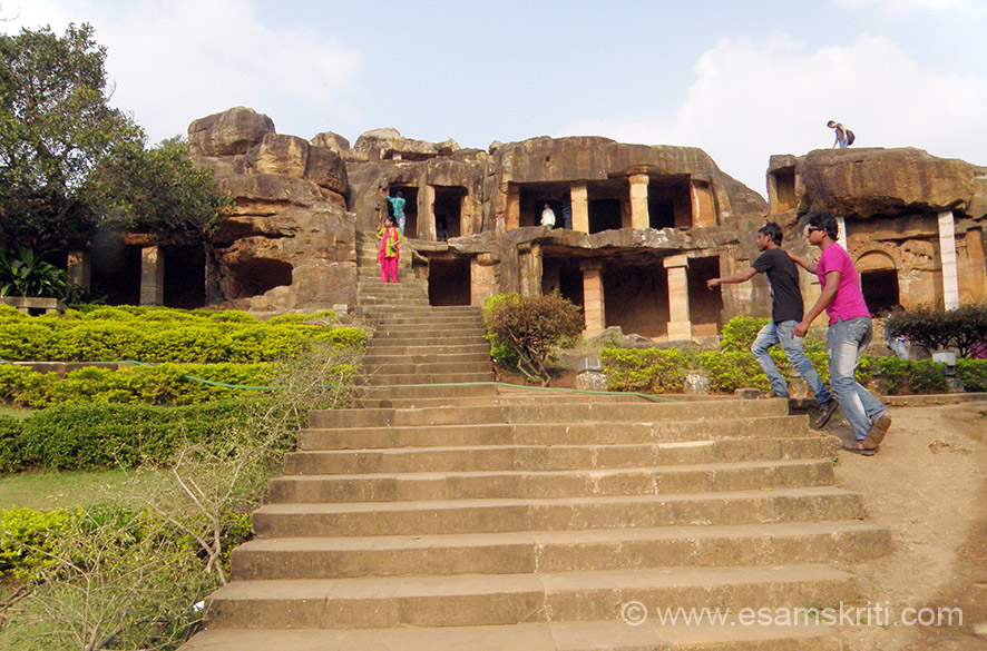 Udaygiri cave - as you enter there are steps that take you right up, if you go right you see these two caves. Area well maintained with lots of monkeys. Caves are double storey. The majority of these caves originated during the period of Kharvel, when Jaina Dharma was the state religion of Kalinga.