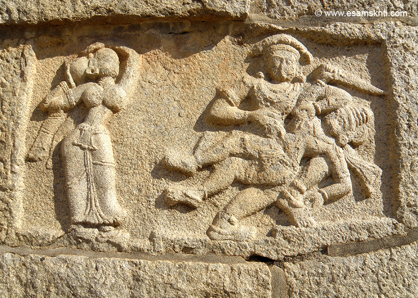 U see bas-relief of Bhima``s killing Kichaka and Draupadi tying her hair after Kichaka``s death. Inspite of visting Hampi in January found it very hot between 11 to 3pm. Suggest u see Hampi from 6 to 11am and from 4 to 7.30pm. Adjust timings for seasonality.