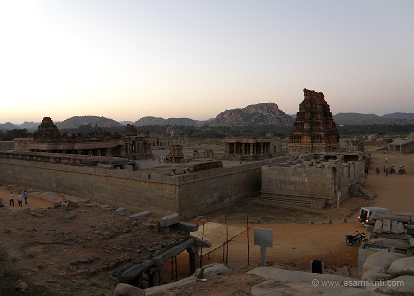 A view of the Anjanadri Hill (right of picture or left of entrance gopuram) taken from the Vithhala Temple just before sunset.