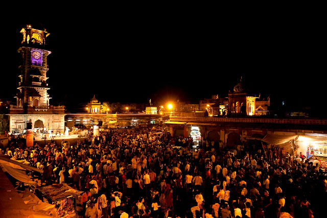 Stage and setting at the Opening Concert Clock Tower bazaar Jodhpur. The festival was held at Jodhpur from 12-16th October 2011.