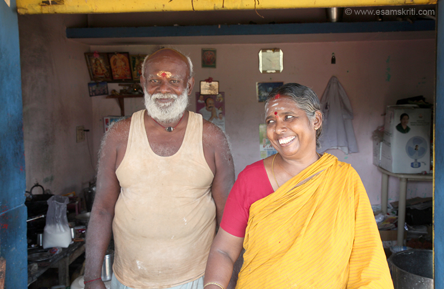 "Couple run a small rest in Kanadukathan village of Chettinad ie about 30 minutes drive from Karaikudi. Loved the smiles so included here. To see pics of Palaces of Chettinad <a href=""http://www.esamskriti.com/photo-detail/Palaces-of-Chettinad.aspx"" target=""_blank"">Click here</a>"