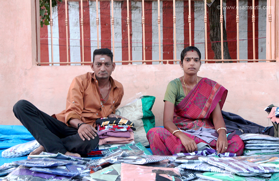 "Couple selling shirts outside Rameshwaram Mandir. To see pics of Rameshwaram Temple <a href=""http://www.esamskriti.com/photo-detail/Rameshwaram-Temple.aspx"" target=""_blank"">Click here</a>"