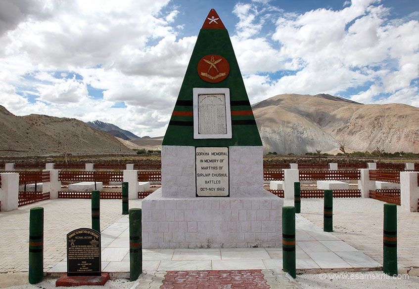 Within that is the Gorkha Memorial in memory of the martyrs of Sirijap Chushul Battles in October November 1962. Pranams to the brave sons of India.
