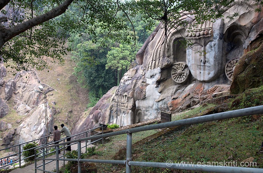 Key bas relief sculptures carved on vertical rock cliffs is what you see on left of pic. Very well maintained garden. Ganesha sculpture is right of pic, u walk up the hill to see more images.We show close ups of individual images in collection.