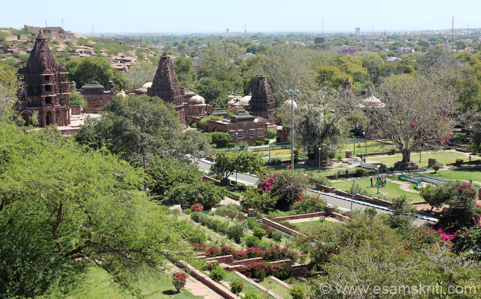 In pic 1 you saw the highest point. This pic is from there. U see beautiful garden with road in centre. The temples that you see on left of pic are cenotaphs of the rulers of Jodhpur. Later u get a 