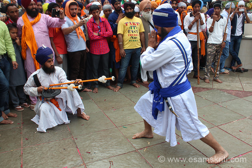 After the dance, the warrior does pranams and takes weapons. Gatka is a weapon-based art whose present form was created post 1857. ``It gained popularity when the British banned the practise of Shastar Vidiya, which was punishable by death. The Punjabi word gatka refers to wooden stick used in sparring matches. The term might have originated as a diminutive of the Sanskrit word gadha or mace``.
