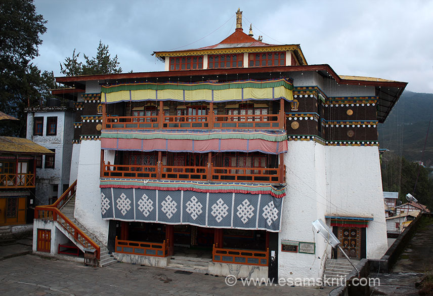 Entrance to Monastery early morning view. I landed at 5.15 am. Early morning prayer ended around 6 am. This massive citadel came to be known as Tawang Galdam Namgye Lhatse or the celestial paradise on the divine site chosen by a horse``. The monastery has a big library with impressive collection of ancient books and manuscripts. The famous gold inscribed scriptures Kangyur and Tangyur are preserved here.