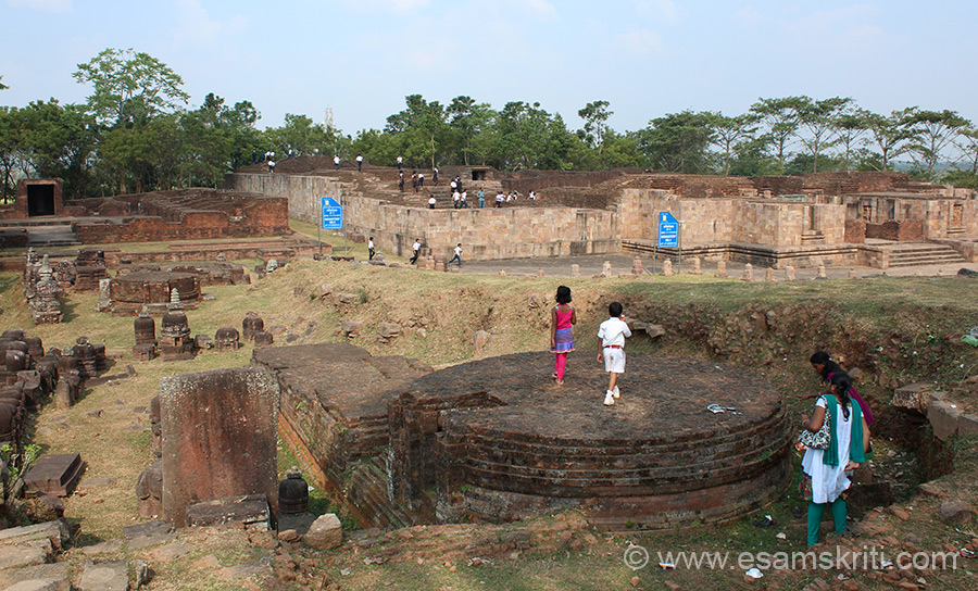 Overview of monastery. Monastery one is on right of pic and on left is number 2. Children that you see are standing on what looks like ruins of a stupa. Ratnagiri is on the banks of river Kelua like