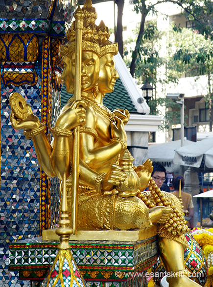 His vehicle is the swan or goose, the symbol of knowledge. He is thus said to be riding on the swan (hansa-vahana). Lord Brahma is known as Phra Phrom in Thailand. We present four pictures clicked from each direction walking clock wise. This is the second image.