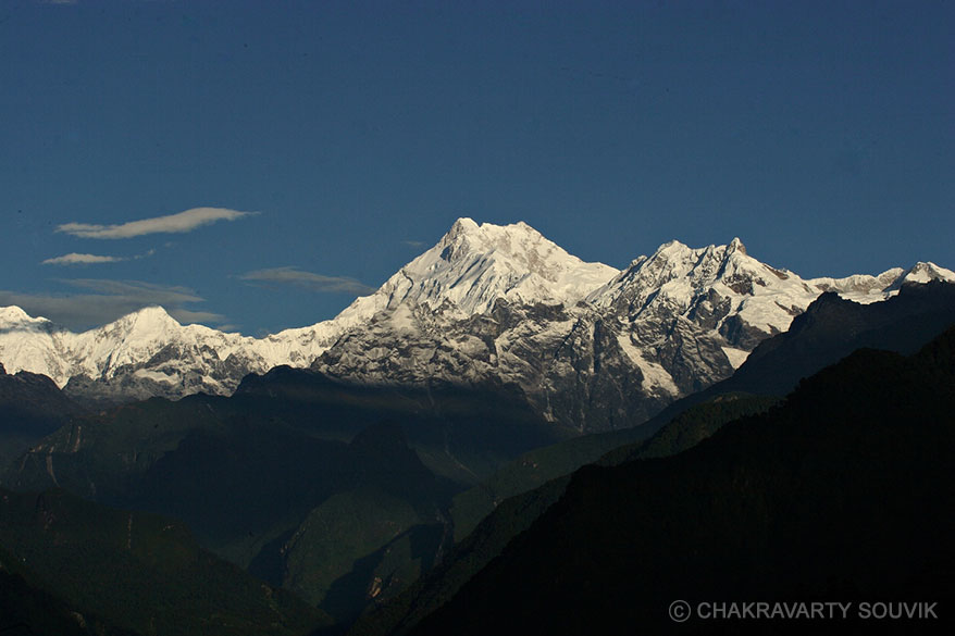 Mt.Kanchenjungha from Singhik. This is the only place in North Sikkim from where Mount Kanchenjungha is so clearly visible.