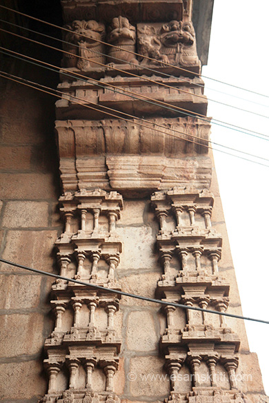"Doorway to gopuram - stone work. Top mythological animal YALI. ""In 1316 A.D. The temple was in complete ruins due to wars. Idols were removed and kept in Tirumalai for sometime. Later on