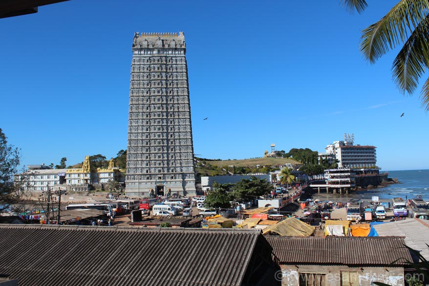 This pic is from my hotel room (Kamat Yatri Niwas). Left is temple, centre is Gopuram, then is the hill, concrete structure on stilts in the water is Naveen Restaurent (great place to sit