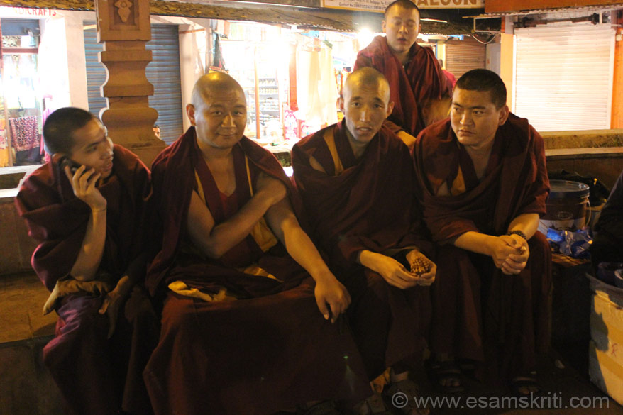 A group of Tibetan monks clicked outside the temple - waiting for their tea to be ready.