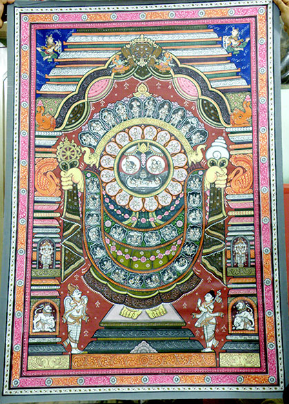 "Painting - creation of Vishnu, Lord Jagannath. There are about 200 homes running east to west actually overlooking each other. Presiding Goddess of the village is Bhuasuni. To see pics of Puri Ratha Yatra <a href=""http://www.esamskriti.com/photo-detail/Jagannath-Ratha-Yatra-Puri.aspx"" target=""_blank""> Click here </a>"