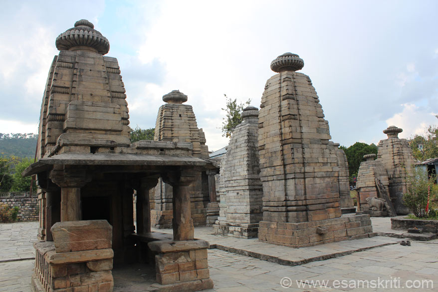 Note the Shikharas have no carvings on them unlike the temples of Dwarahat but are similar to the Sun Temple Almora which also have no carvings.