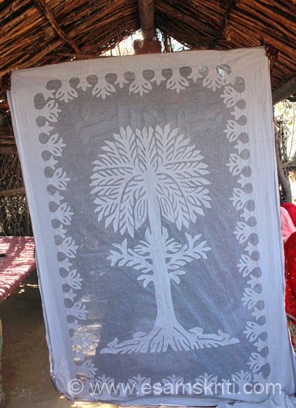This is a Tree of Life curtain that you see. Work was done on it. During the 1965, 1971 wars with Pakistan and thereafter a number of Hindus belonging to the Meghwal community migrated to India.