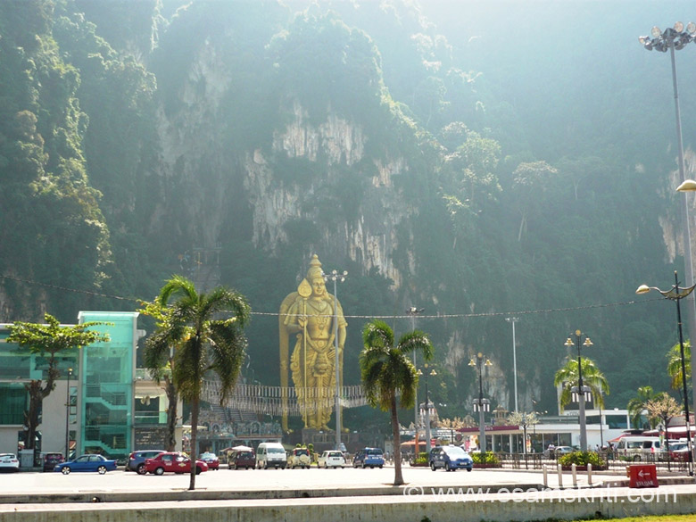 View of the cave temple and surrounding. The caves are made of limestone and 400 meters long and 100 meter high.