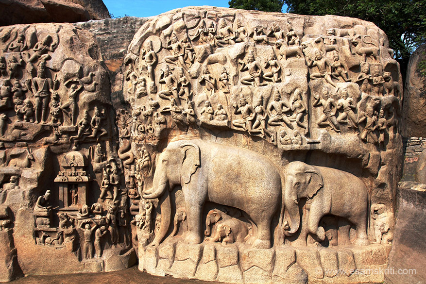 "A close up of base relief on Arjuna``s Penance (see left of pic top man with hands above his head and one foot on another knee). This is covered in the 5 Rathas album, here see the majestic elephants. To see pics of 5 Rathas Mahabalipuram  <a href="" http://www.esamskriti.com/photo-detail/5-Rathas-Mahabalipuram.aspx"" target=""_blank"">Click here</a>"