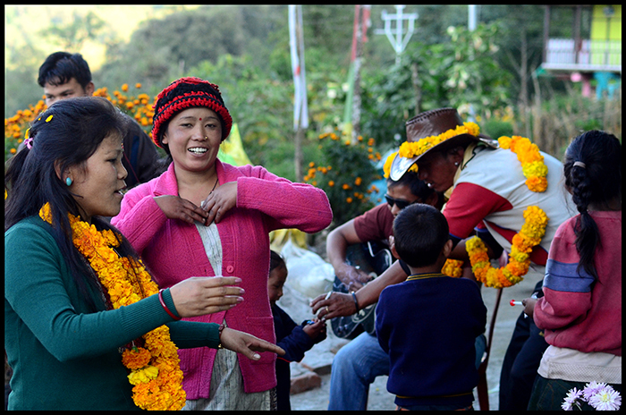 "Villagers celebrating ""Tika"" festival."