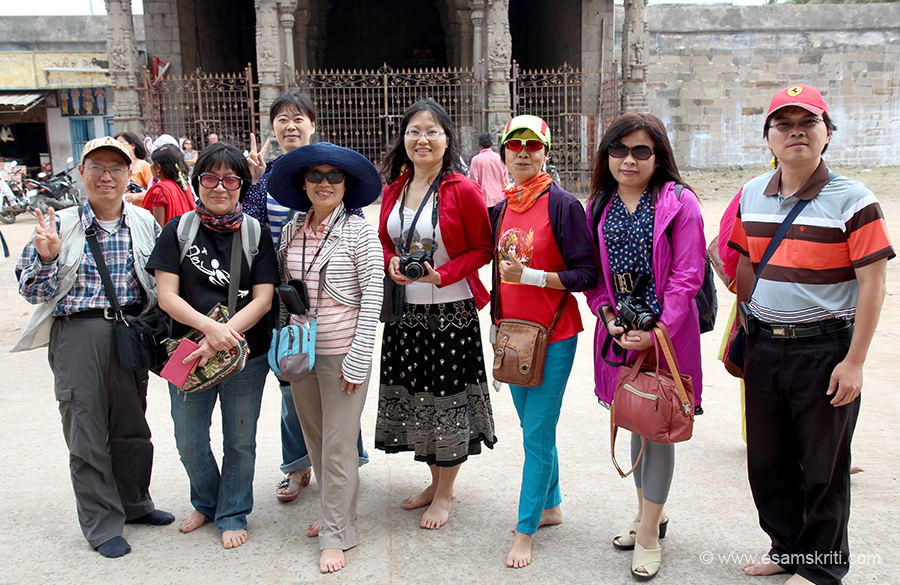Group from Taiwan at one of the temples in Kanchipuram. Their company has a factory close by.