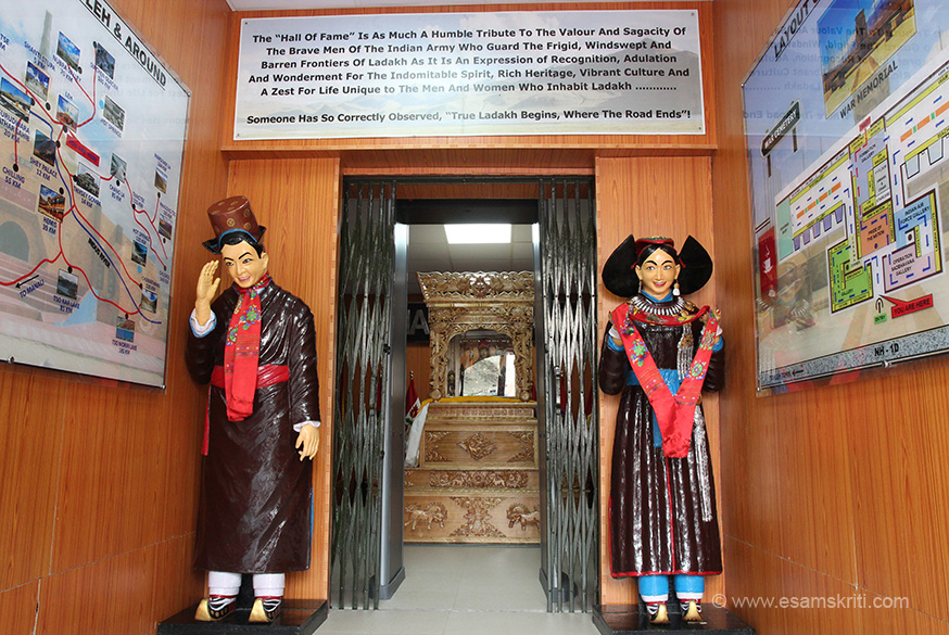 Entrance to Hall of Fame. Left is a map which gives names of places to see and distance from Leh. In this terrain assume it takes 1 hour for 30 kms. Excerpts from board top of pic ``The
