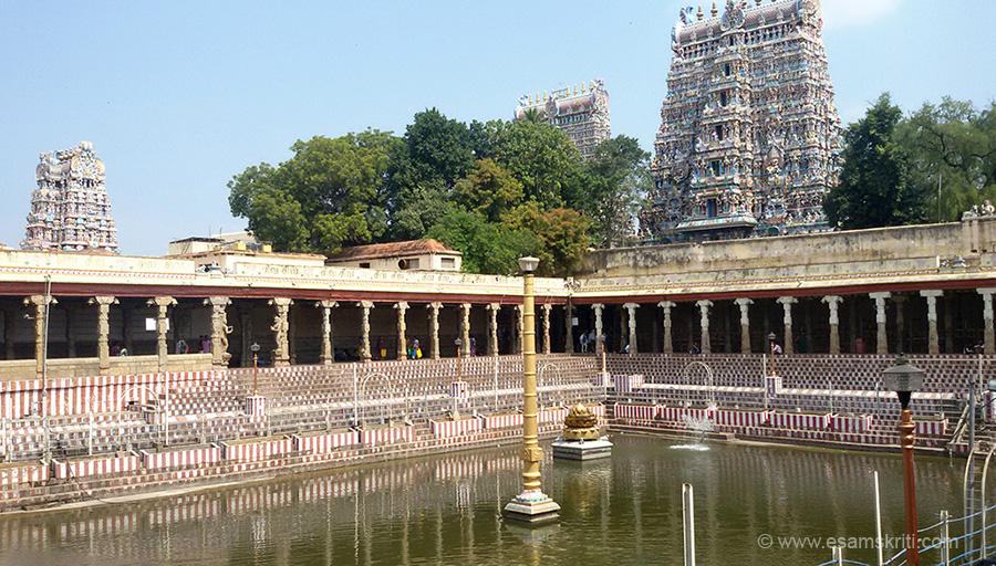 View of the east side gopuram - golden lily tank in front. The Meenakshi shrine is one of the 51 Shakthi peetams. It is one of the five (pancha) sabhas of Lord Nataraj.
