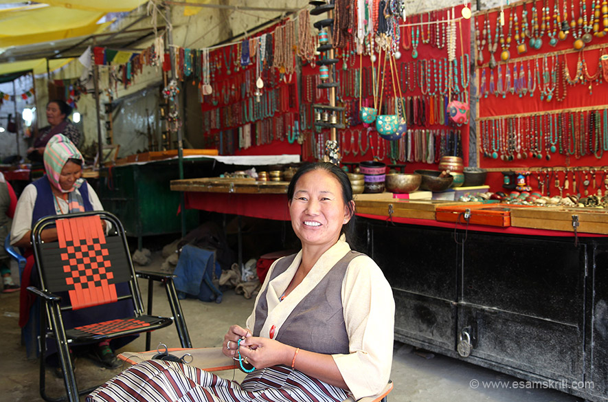 Tibetan lady in main market Leh. She sells necklaces, chains, ear rings - super stuff. Bought for wifey very happy.