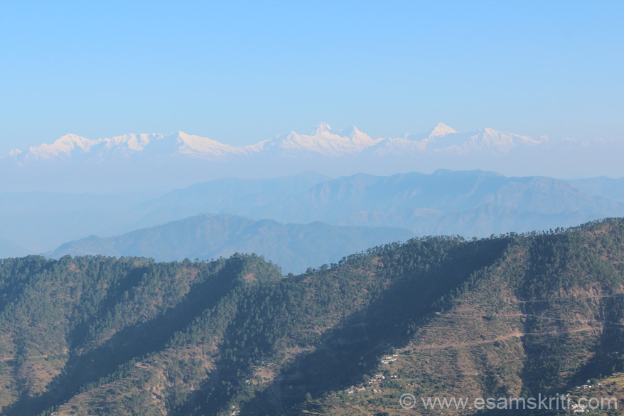 A view of the Himalayan Peaks from fort top. Very cloudy so view not clear.