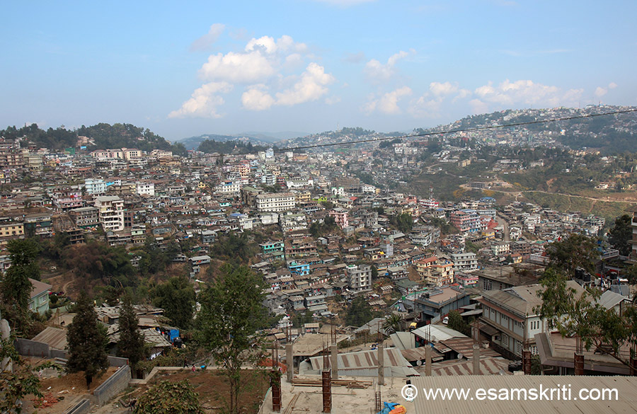 View of Kohima from where we stayed. Kohima is hilly all the way and is spread over numerous hills. It is very crowded, lots of cars and poorly maintained roads.