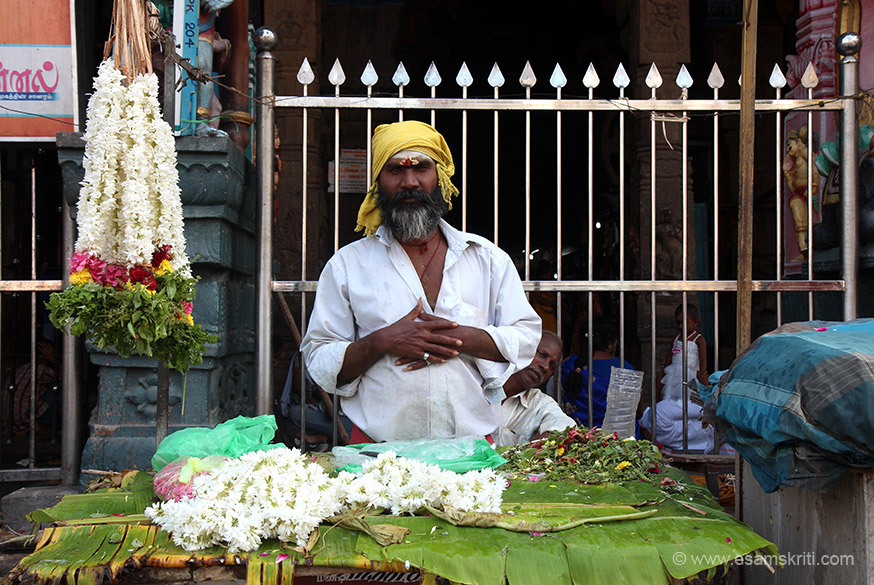 "Flower seller. ""The hill is considered to be the ""Southern Himalaya"" where the gods assemble."" All through yatra found Tamil people to be very helpful. For 19 days enjoyed dosa, idli and meals."