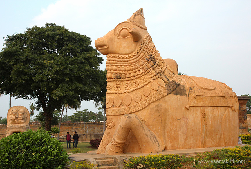 "Side view of Nandi. At far end is lion. ""Nandi is 15 feet in length, 11 feet in height and breadth of 8 feet"". It is constructed using brick and lime."