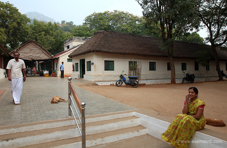 "Pic of ashram. Hill behind is Arunachala. There are some caves in the mountain, whose entrance is from ashram, where you can go and meditate. It is about 45 minutes climb one way. ""Virupaksha Cave has the shape of the sacred ""Om"" and contains the samadhi of Sage Virupaksha. Bhagavan Sri Ramana lived here from 1899 to 1916."" Hope to visit next time."