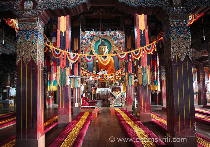 Took this pic standing at main entrance door to monastery. U see a 28 foot high image of Buddha. Huge murals on the shrine``s walls gleam with acrylic paint, as do the intricately painted mandalas and chakras on the ceiling. Adjacent to the monastery building is the Centre for Buddhist Cultural Studies.