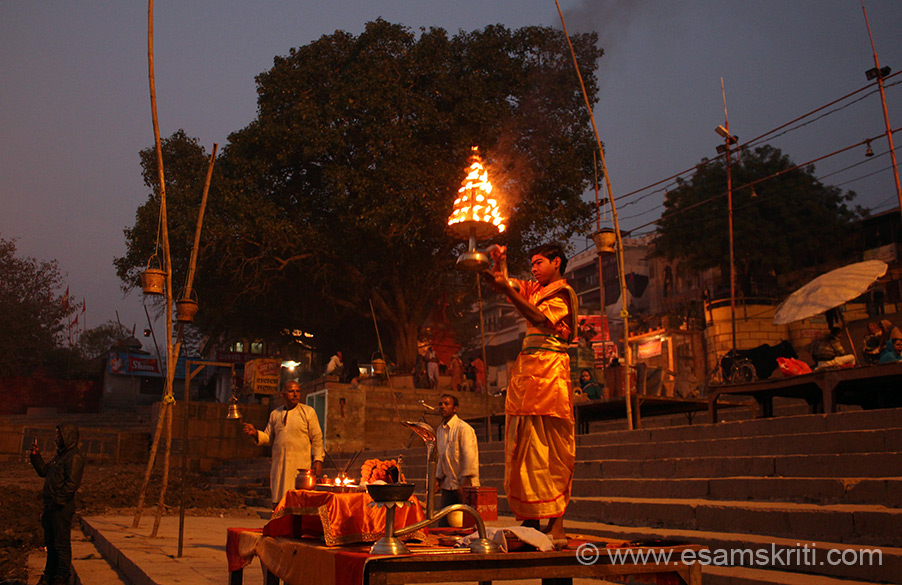 A young Pandit performs aarti at Assi Ghat - before sunrise. In background is Peepal tree.