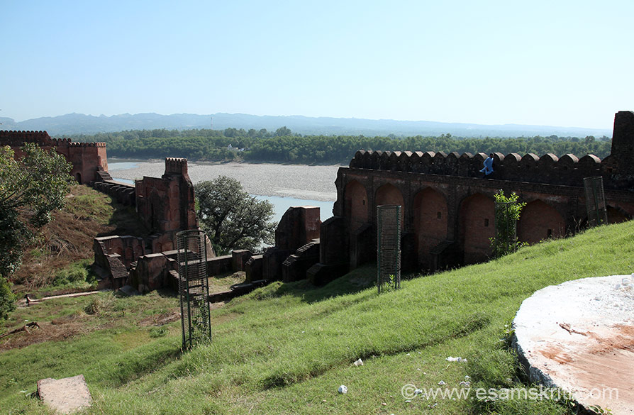A view of the fort walls, centre of pic are steps to the river Chenab.