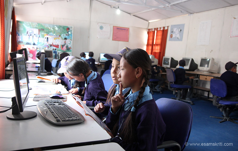 Always happy to see children learning computers. The school has a large computer room and as of August 2016, hopes to get internet connectivity soon. AGS Harka Bahadur and AGS Badgam too have computers rooms. In Vocational Training Centre Drass children came there after school and a qualified local lady taught them how to work on a computer.