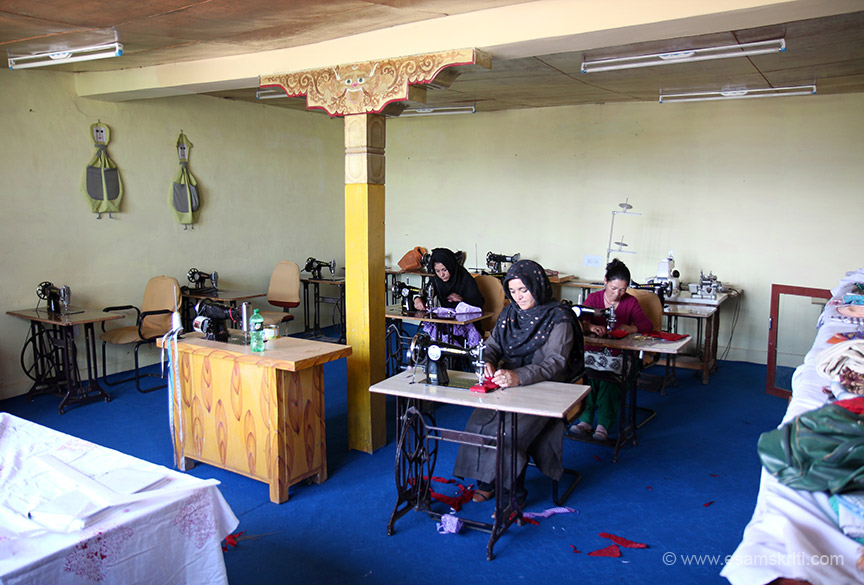In the same place women are provided with sewing machines. Women were busy with harvesting so fewer women present when I visited.