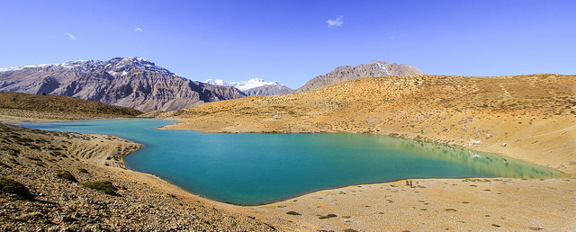 Dhankar Lake is a 3 km trek from Dhankar Monastery, takes about 2 hours. It is at a height of 13,500 feet. Dhankar is an ancient village in Spiti Valley. Reach Tabo and go from there.