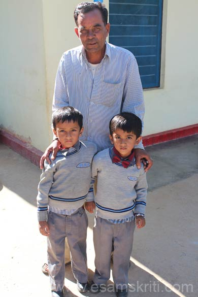 This pic in Pithoragarh. Was trekking from base point to Kapileshwar Mahadev Temple when saw these cute boys with their grandfather. They had just returned from school. Number of small