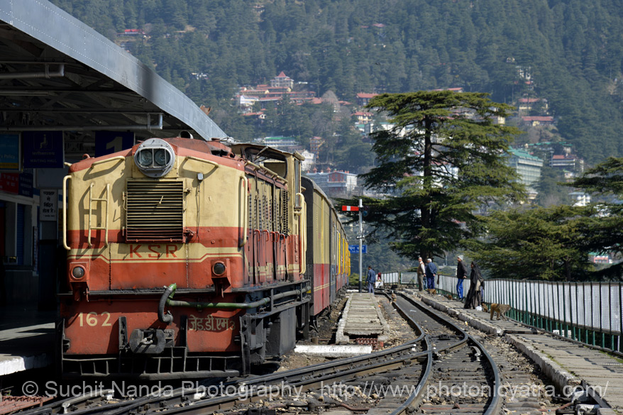 The Kalka–Shimla Railway is a narrow gauge railway in North-West India travelling along a mostly mountainous route from Kalka to Shimla. Some tourist actually run along side the train.