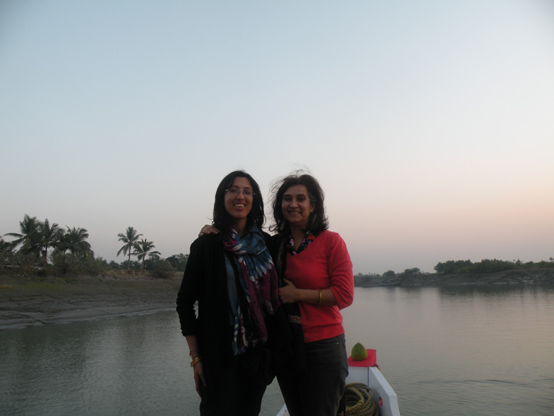 Masi and me as we foray into the watery world of the Sunderbans.
