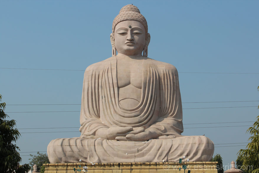 A close up view of the Buddha image.
