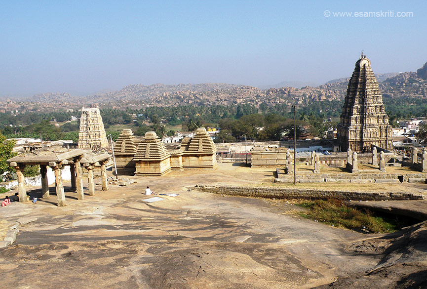 Virupaksha Temple is where the Hemakuta Hill ends. Pic taken from Hemakua hill. Right of pic is big gopuram, left is small gopuram and in front are temples that for some reason are known as Jain Temples 