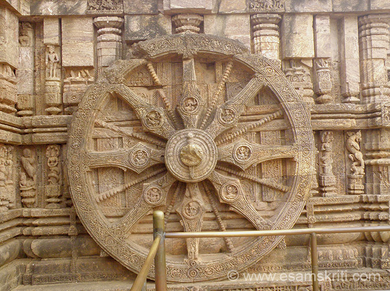This is the second wheel. Deul and Jagamohana are built on a common platform, the exterior however is variegated into a pancha-ratha plan by projections known in Orissan Silpa-sastras or architectural canons as rathas or pagas. These afford an interplay of light and shade.