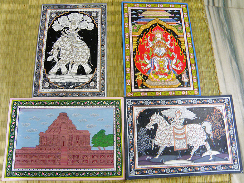 Top left is Krishna Kandrp Hati (inside elephant are Gopis) next top is Yagnya Narayan. Below left is Sun Temple Konarak and right is Krishnakandrpghoda.